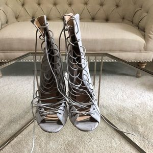 Simmi Shoes- lace up gray suede heels- size 10